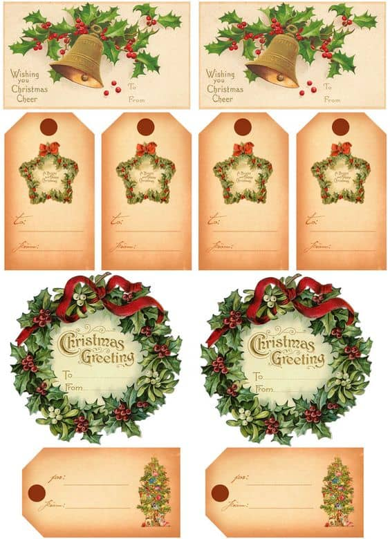 Free printable christmas gift tags meaningful gifts for her vintage christmas gift tags negle Gallery